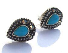 BLUE TURQUOISE DROP earring silver Türkis Markasit 925 Silber Tropfen Ohrstecker