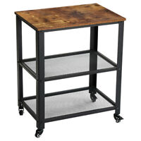 3 Tier Sofa Side Table Rustic End Table Nightstand Table with Wheels