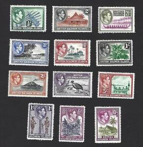 SOLOMON ISLANDS 1939 GEORGE VI, 12 DIFFERENT PICTORIALS TO 10/-, CAT £100+, MH