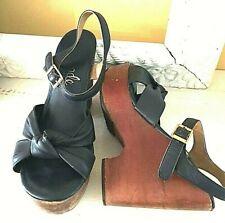 """Vtg 70's Platform Shoes Sandals Brazil Navy 4 1/2"""" Heel 6B 7 Leather Wood"""