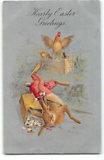 Easter-Dressed Rabbit-Fantasy-Stealing Eggs-Rooster-Silver-Antique Postcard