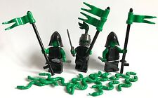 3 lego FANTASY KNIGHTS mini figures + 10 GREEN SNAKES - GREEN ARMY LEGO PARTS