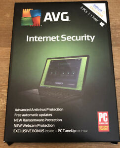 AVG Internet Security (3 PCs / 1 Year) - FREE SHIPPING New, Sealed Box