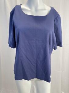 NEW LAFAYETTE 148 Bluebird Cotton Stretch Round Neck Top T-Shirt Sz XL NWT $198