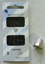 WHITECROFT LEATHER NEEDLES 3 + METAL THIMBLE S/M/L
