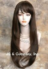 Human Hair Blend Long Straight  Brown HEAT SAFE Wig with bangs wil 6