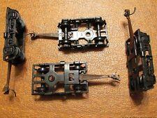 TWO OF THE IHC PASSENGER CAR 4 WHEEL TRUCKS BLACK W/KNUCKLE COUPLER