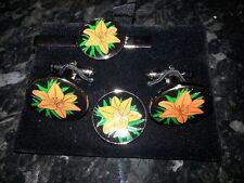 Orange Lily (black) cufflinks, tie slide and lapel pin set, Loyal Order, Ulster