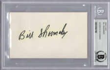 WILLIE SHOEMAKER SIGNED 3x5 INDEX CARD HORSE JOCKEY ENCAPSULATED BECKETT BAS