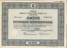 Fels - Zement & Dolomit Werke AG Schakowa 1 Aktie 100 RM 1943