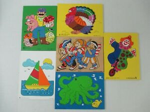 6 VINTAGE ASSORTED JUDY INSTRUCTO WOODEN PUZZLES 8-15 PC TURKEY, 4TH OF JULY +