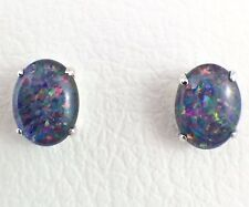 Large Australian Triplet Opal Stud Earrings Sterling Silver with Certificate