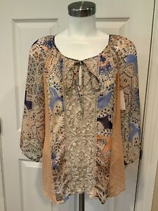 Meadow Rue Anthropologie Multi-Color Lace Front Tunic Shirt w/ Tie Neck, Size S