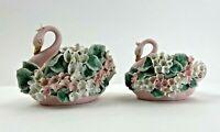 Vintage Lefton China Hand Painted Pair of Pink Swan Figurines KW1064 & KW1063