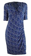 Ralph Lauren Women's Plus Size Three Quarter Sleeve Geo Print Dress Blue 24W New