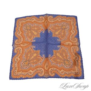 NWT Gladson Made in Italy Wool Silk Royal Blue Starlight Paisley Pocket Square