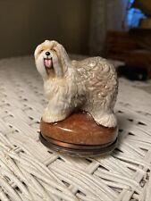 Halcyon Days Old English Sheepdog Dog Enamel Bonbonniere Box
