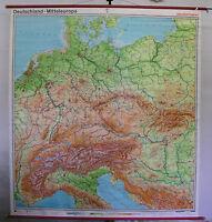 Schulwandkarte Wandkarte Karte Schulkarte Deutschland Mitteleuropa 205x223 1977