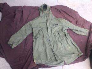VINTAGE US ARMY M-1951 FISHTAIL PARKA SHELL M51 M65 M-65 OD Jacket Coat XL