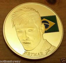 Neymar Gold Coin Brazil Flag FIFA World Cup 2014 Footballer Soccer Russia 2018