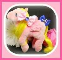 ❤️My Little Pony MLP G1 Vtg So Soft WISHES Flocked Fuzzy Pink Party Gift Pack❤️