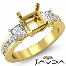 Natural Diamond Wedding 3 Stone Ring 14k Yellow Gold Princess Semi Mount 1.1Ct