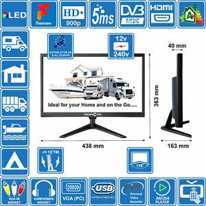 "MOTORHOME CARAVAN BOAT 19"" Inch 12V / 240V HD+ LED Digital Freeview TV USB PVR"