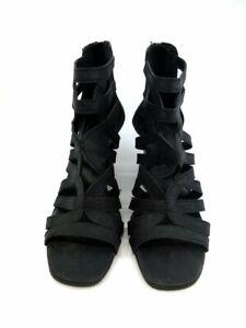 Franco Sarto Black Gladiator Strappy Wedge Sandal Zip Back 10M