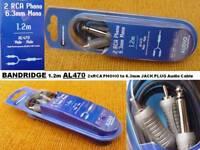 BANDRIDGE AL470 1.2m 2xRCA PHONO Plugs to 6.3mm Mono Jack Plug AUDIO Cable