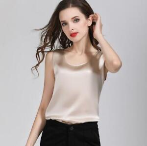 Women's 100% Pure Silk Classical Tank Top Camisole Sleeveless Vest Shirt YM005