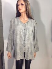 Josephine Chaus Collection Gray Paisley Button Down Blouse, Size 16