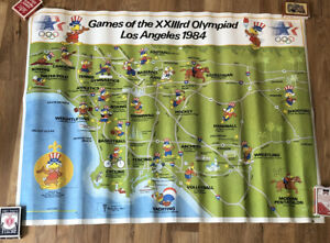 Games of the XXIIIrd Olympiad Los Angeles 1984 Sammy The Eagle Events Map Poster