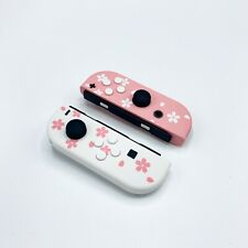 New Nintendo Switch Custom Joycons Cherry Blossom Joy Con White Buttons!