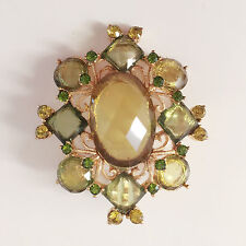 New Olive Green Gold Plated Crystal Floral Flower Oval Brooch Pin Gift BR1149A