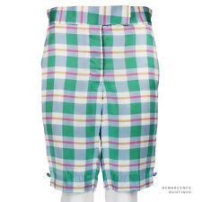 Thom Browne Pastel Blue Green Pink Silk Satin Tailored-Fit Shorts Size 2 UK10