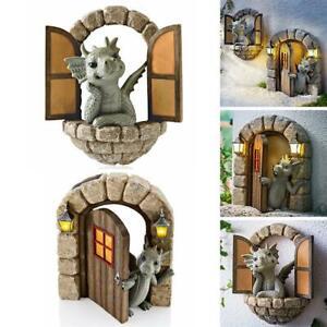 Garden Dragon Statue Beautiful Courtyard Sculpture Window Art Resin Wall DIY NEW