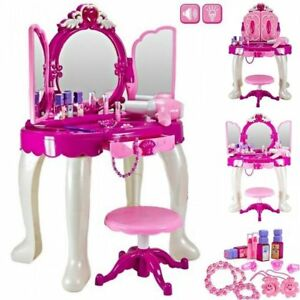 Girls Glamour Mirror Makeup Dressing Table Stool Playset Toy Vanity Light,music