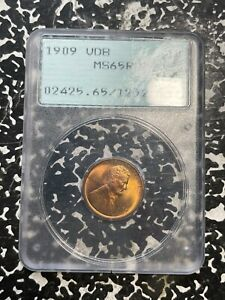1909 VDB U.S. Lincoln Penny Wheat Cent PCGS MS65 Red Lot#FM154 OGH Rattler