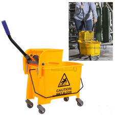 5 Gallon Commercial Wet Mop Bucket Wringer Combo Side Press Heavy Duty