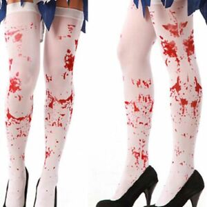Halloween Costume Adult White Blood Stained Zombie Bloody Stockings Tights Fancy