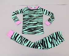 Cat + Cow Girl's Zebra Striped Long-Sleeve Pajama Set CD4 Green Size 6/7 NWT