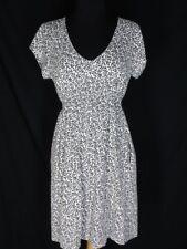 Boden Black Vines on White Knit Dress  UK 12 USD 8 Modl Cotton