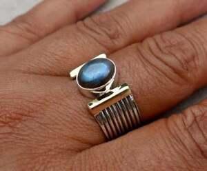 Labradorite Stone Solid 925 Sterling Silver Ring Dainty Ring Handmade Ring R48