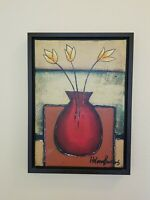 Helena  Barros  abstract expressionist  flower oil paintings