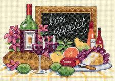 Cross Stitch Kit ~ Dimensions Bon Appetit! Bread, Cheese & Wine #6915 Oop Sale!