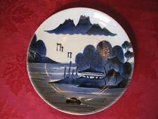 "Vintage Antique 9"" Blue & White Japan Sometsuke Sansui Signed Plate Unknown Age"