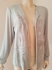 CHICO'S Travelers Slinky Knit Beige Embroidered Open Front Jacket 2 Large