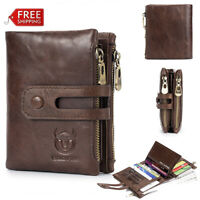 Mens Vintage Genuine Leather Wallet RFID Anti-magnetic14 Card Slots Coin Zip Bag