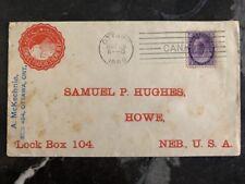 1899 Ottawa Canada Commercial Cover To Samuel Hughes Howe NE USA