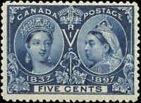 1897 Mint H Canada F+ Scott #54 5c Diamond Jubilee Stamp